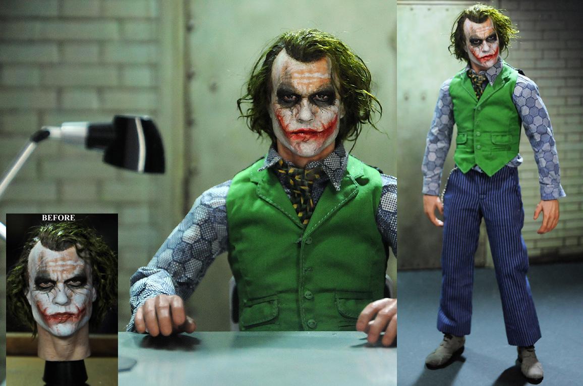 Repaint of 1/6 figure Heath Ledger Joker head by noeling