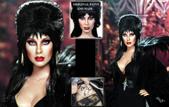 Cassandra Peterson aka Elvira custom doll repaint