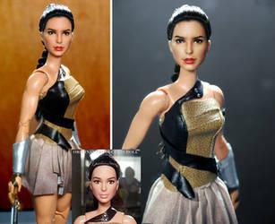 Doll Repaint Gal Gadot Wonder Woman Diana Prince by noeling