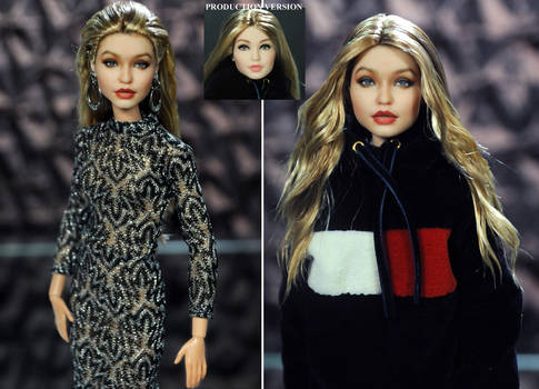 Gigi Hadid custom doll repaint by Noel Cruz