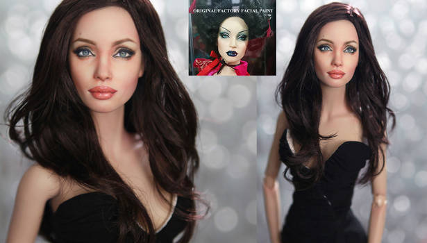 Fashion doll repainted as Angelina Jolie