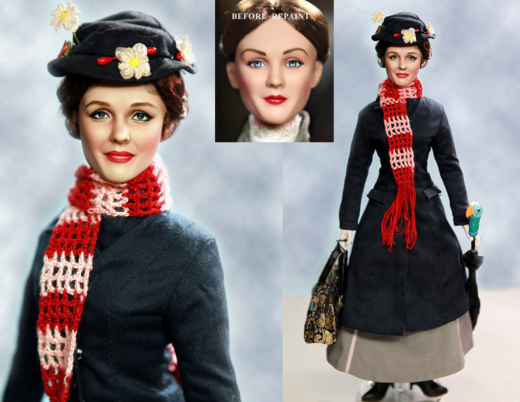 Doll Repaint of Julie Andrews as Mary Poppins by noeling