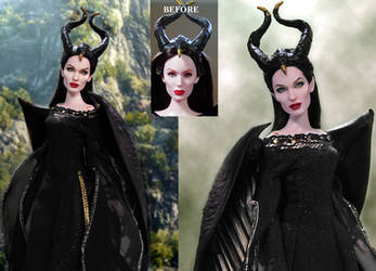 Doll Repaint Angelina Jolie Maleficent Disney