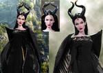 Doll Repaint Angelina Jolie Maleficent Disney by noeling