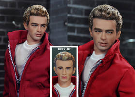 James Dean doll repaint / restyle with added hair