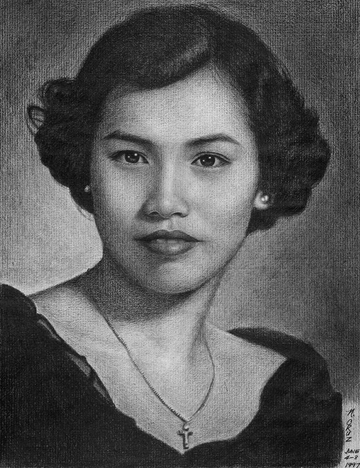 Mom  Carmen Cruz - pencil drawing