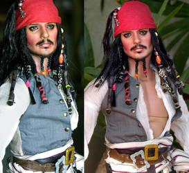 Doll repainted as Jack Sparrow by noeling