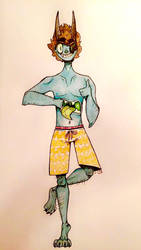OC: Pablo : Beach Shorts and Green Tongues.   by EJ-Art