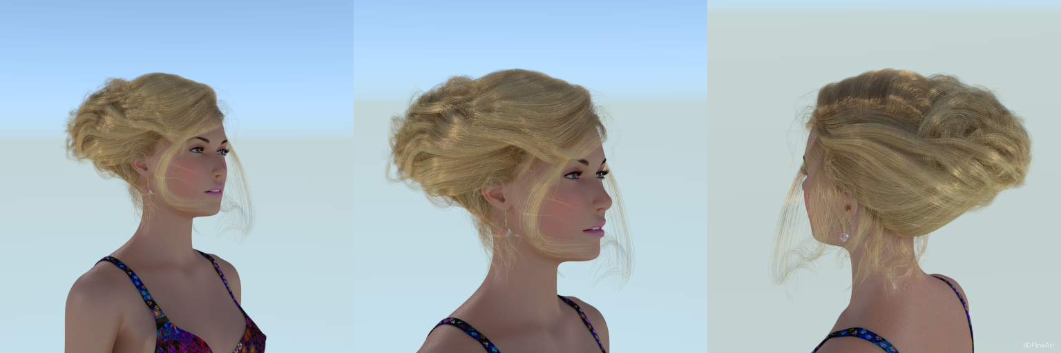 3d character wip oc hairstyle long updo curl by 8DFineArt