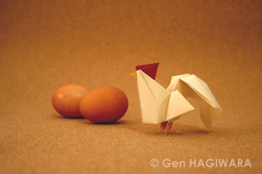 Origami Rooster (Multi colored ver) by GEN-H