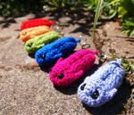 Colourful Amigurumi Trilobite keyrings