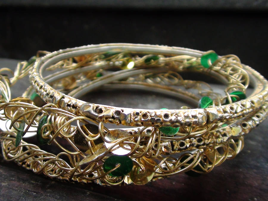 Gold Green Bangles 3 by snmsoomro