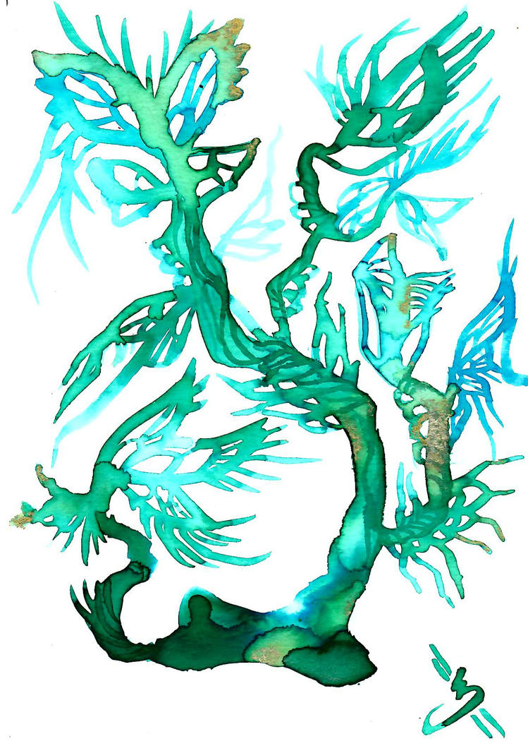 Blue ink Butterfly Tree by Nevarra13
