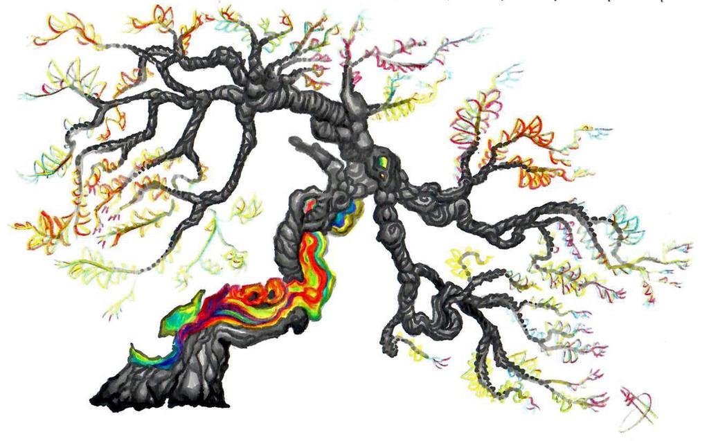 Rainbow bark Buttefly Tree by Nevarra13