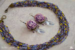 violet peony earrings and multi strand necklace