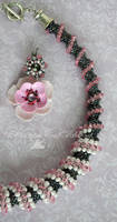 pink poppies and silver jewelry set