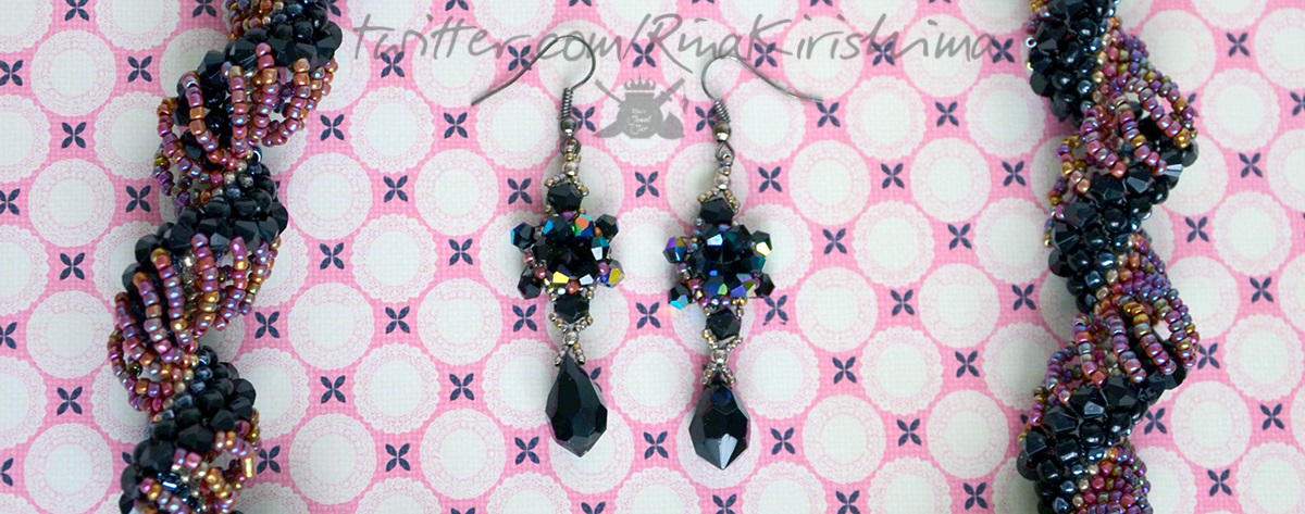 Black crystal jewellery set by RinaKirishima