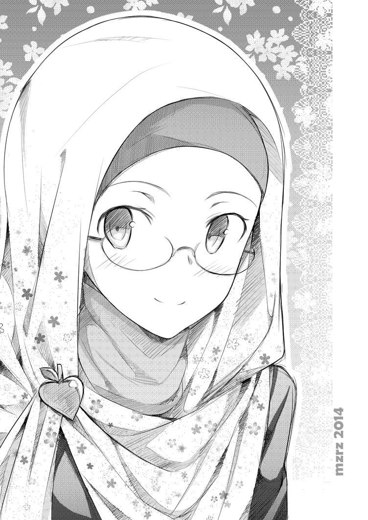 Megane Hijaber Mzrz Deviantart Hijabers Anime Cantik