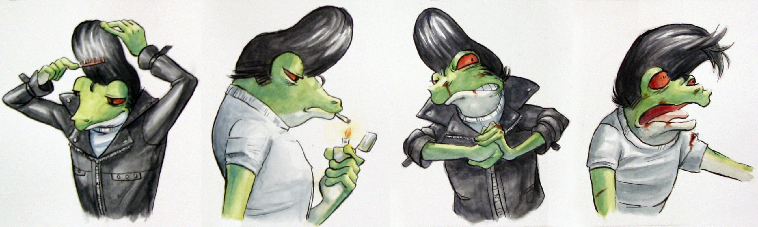 Greaser Frog Head Studies by Ah-Leeza