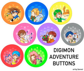 Digimon Adventure 01 Buttons by Sennel