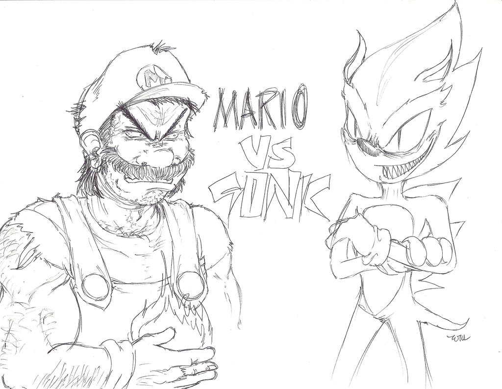 Mario Vs Sonic Coloring Pages Coloring