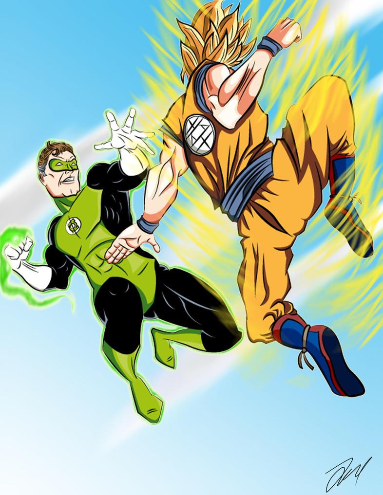 Goku vs Green Lantern by BattenfelderART