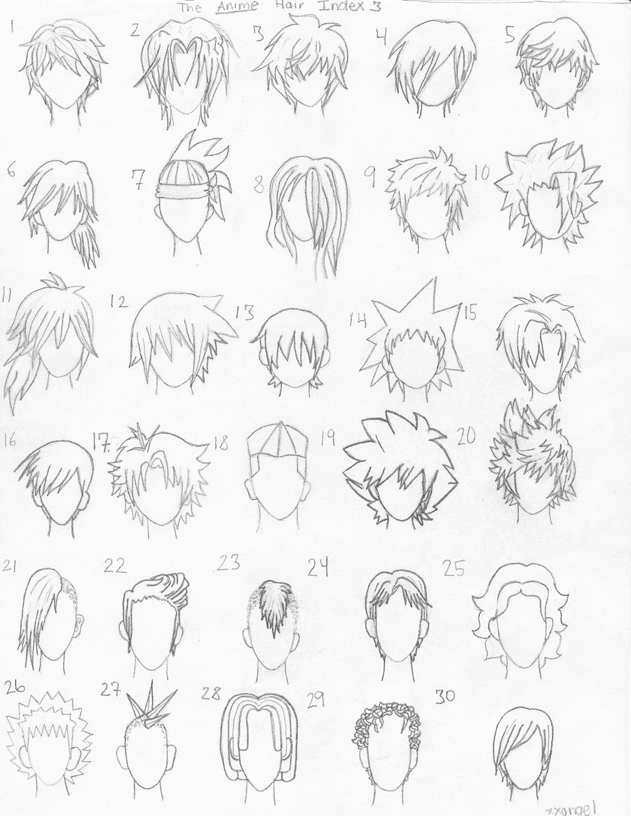 the anime hair index 3 by xxangelsilencex manga anime traditional    How To Draw Male Anime Hair