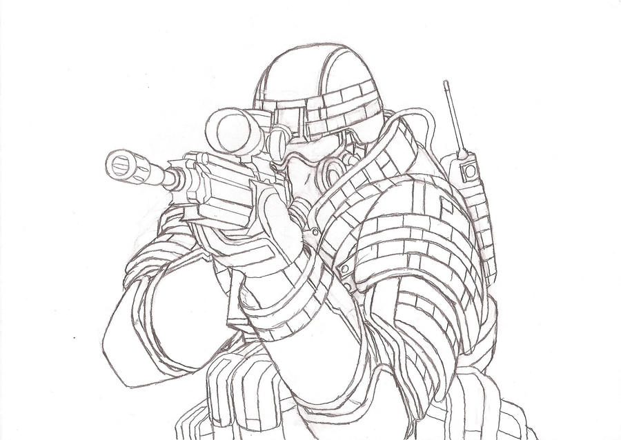 Future Army Soldier Drawing