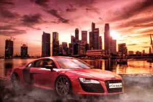 AudiR8 with Skyline of Singapore