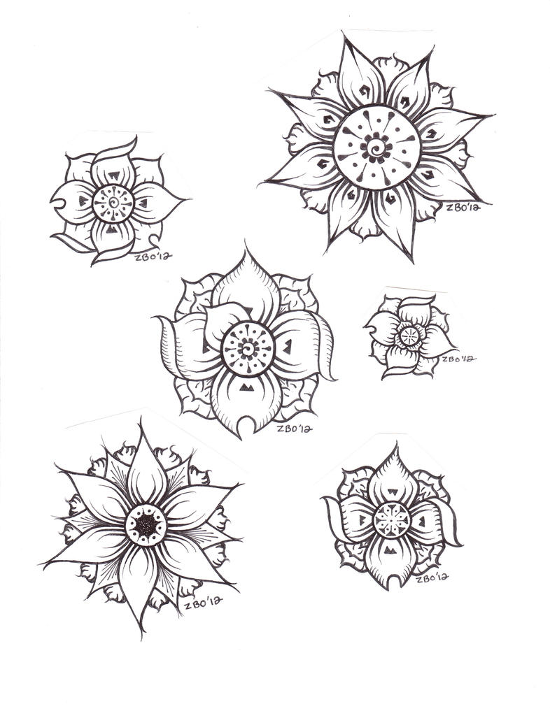 Traditional Flower Line Drawing : Flower flash sheet by zobrozco on deviantart