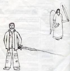 Swordman and Angel by psycholee
