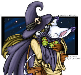 . Wizardmon and Gatomon .