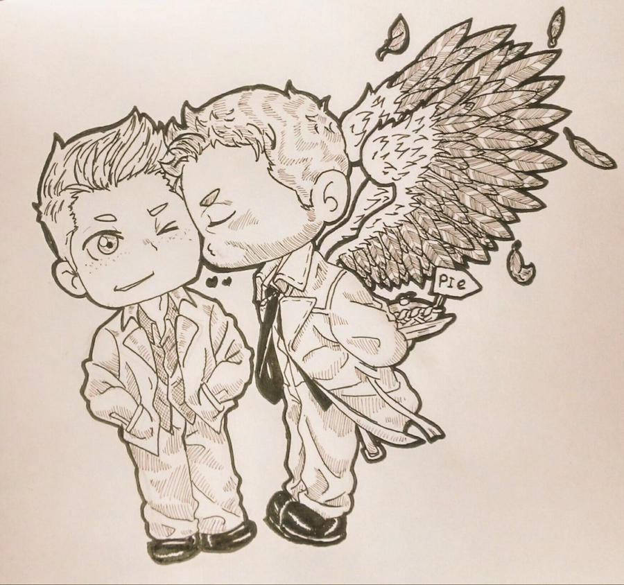 Destiel chibis :3 by XInkRibbonX