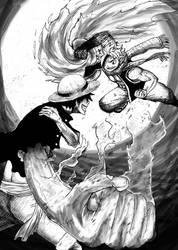 Luffy vs. Natsu by Dafuq-Izdis-Schitt
