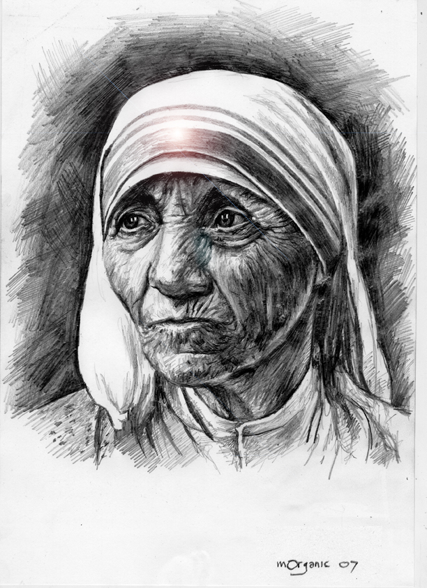 Mother teresa pencil on paper by morganico com