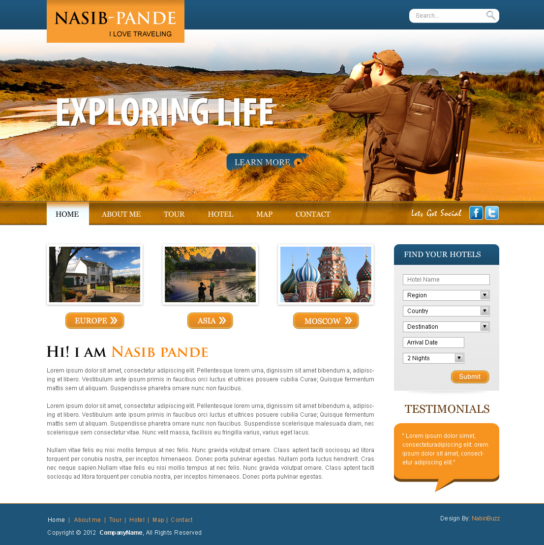Traveller Web Template (PSD Download) by crazeeartist on DeviantArt