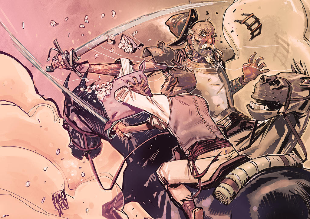 Quixote vs Vizcaino by Mogorron