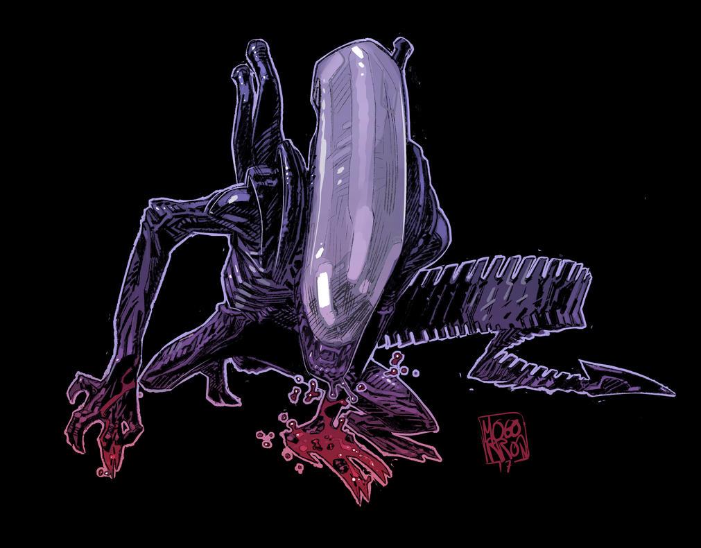 Alien ink brush test by Mogorron