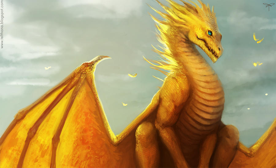 If I were a dragon ... I would look like this .. - Page 3 Golden_dragon_by_telthona-d4jpvyo