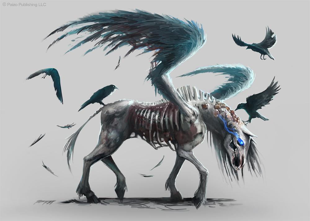 Pathfinder: Pegasus Zombie by telthona