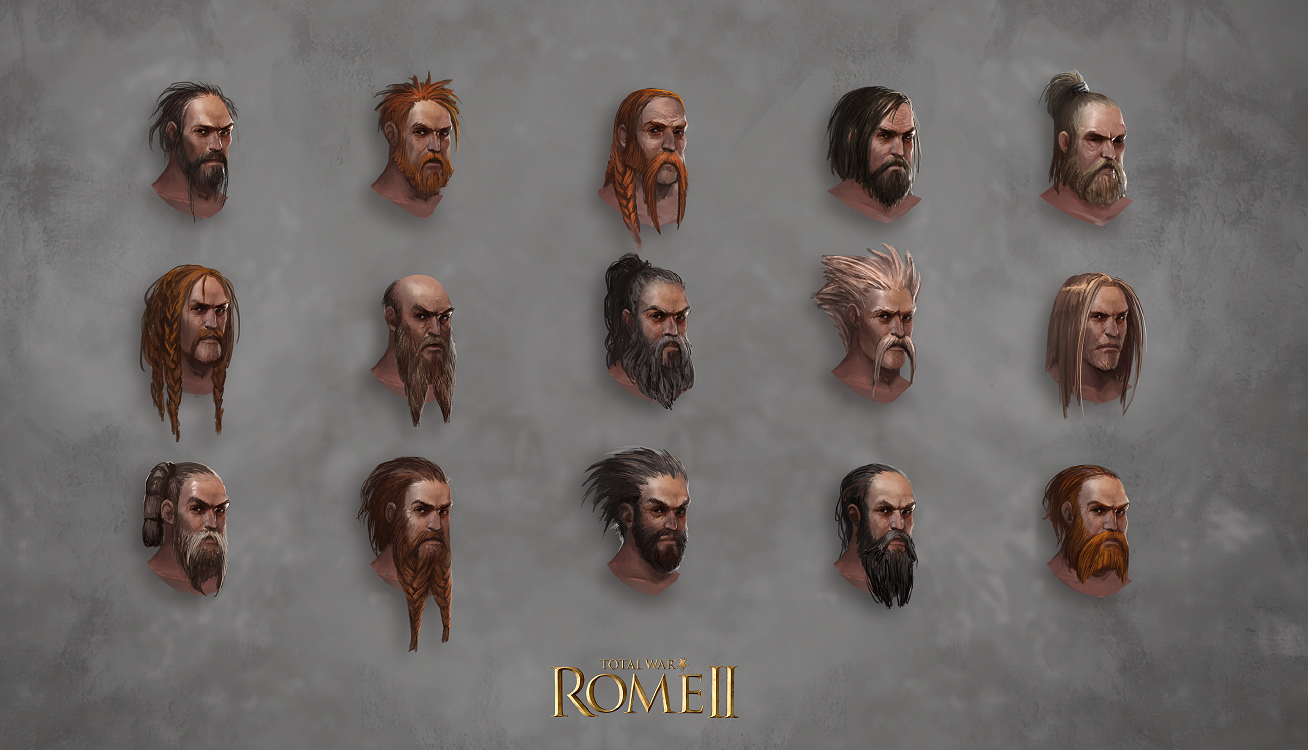 Total War: Rome II - Barbarian Head Designs 1 by telthona
