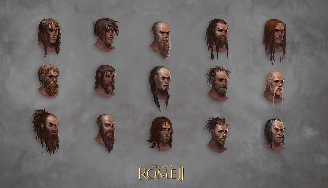 Total War: Rome II - Barbarian Head Designs 2 by telthona