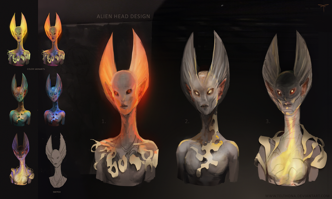 Alien Head Design by telthona