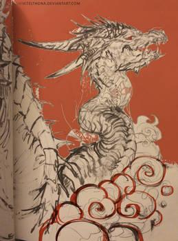 dragon in orange || sketchbook