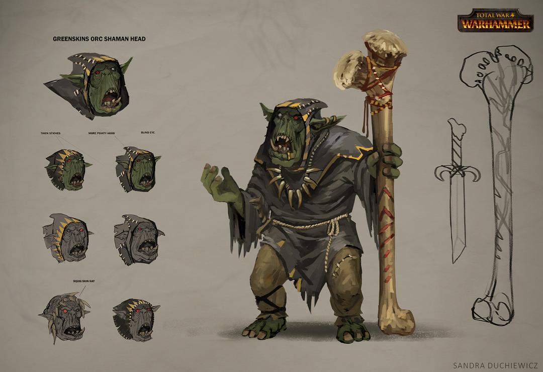 Total War: Warhammer Concept Art Orc Shaman by telthona