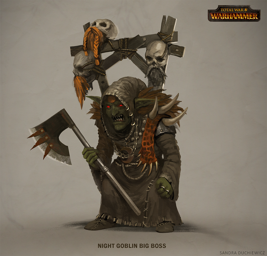 TW:Warhammer Concept Art - Night Goblin Big Boss by telthona