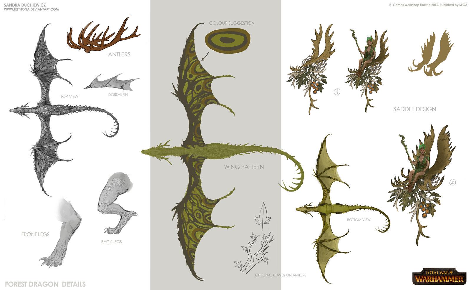 Total War: Warhammer Concept Art - Forest Dragon3
