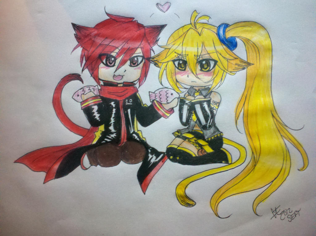 chibi akaito x neru by caeloquent on deviantart