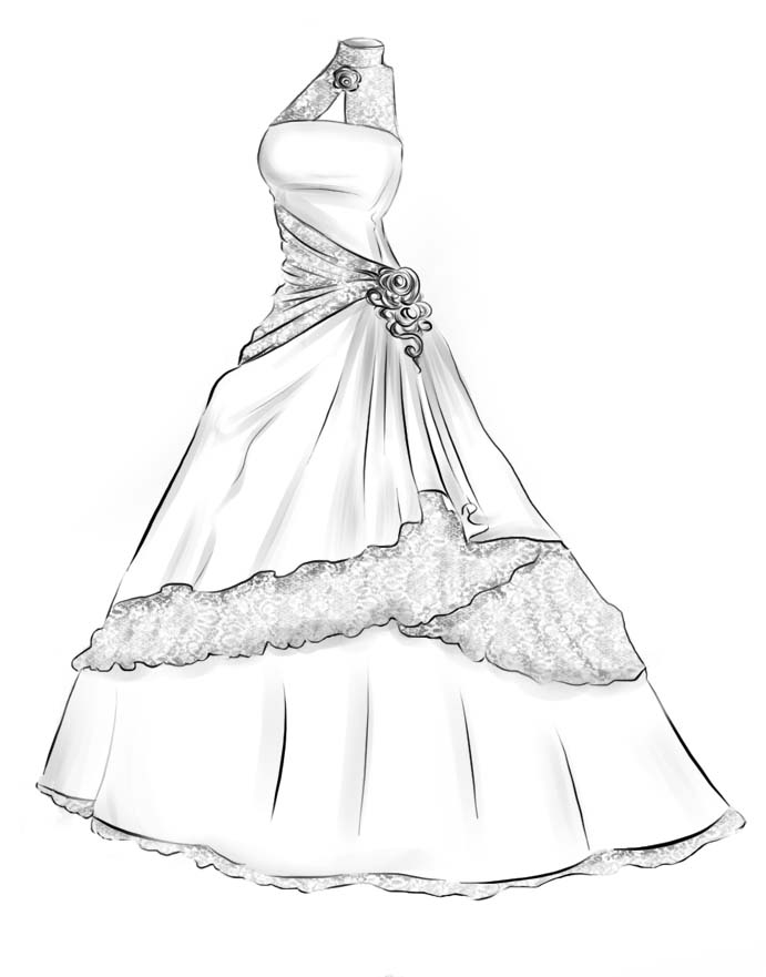 Wedding Dress Line Drawing : Painting by fuchsia a line strapless ankle length graduation dresses