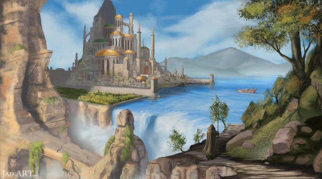 Waterfall City by JaikArt